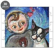 Boston Terrier baby love Puzzle