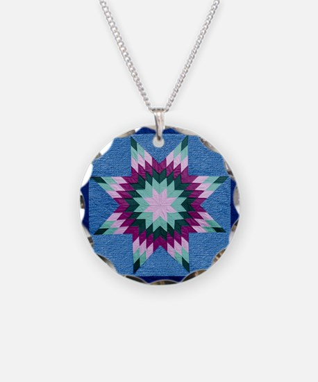 Star Quilt Necklace Circle Charm