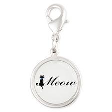 Meow Silver Round Charm