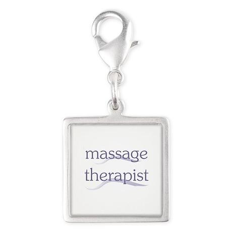Massage Therapist Silver Square Charm