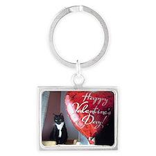 Valentine's Day Kitty Landscape Keychain