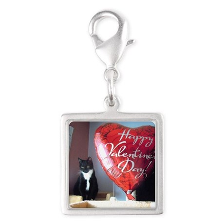 Valentine's Day Kitty Silver Square Charm