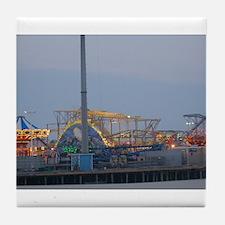 Seaside Heights at Night Tile Coaster
