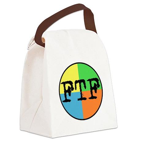 FTF Round Sticker Design Canvas Lunch Bag