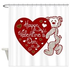 Valentines Day Bear Shower Curtain
