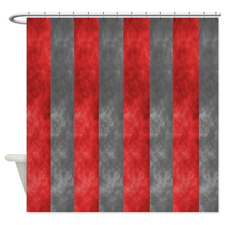 Maroon And Grey Stripes Shower Curtain By Markmoore