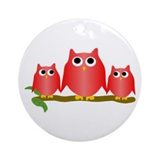 Red Owls Ornament (Round)