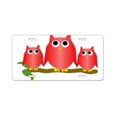 Red Owls Aluminum License Plate