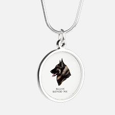 Belgian Shepherd Dog Silver Round Necklace