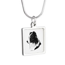 Border Collie Silver Square Necklace
