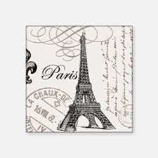 "Vintage Paris Eiffel Tower Square Sticker 3"" x 3"""