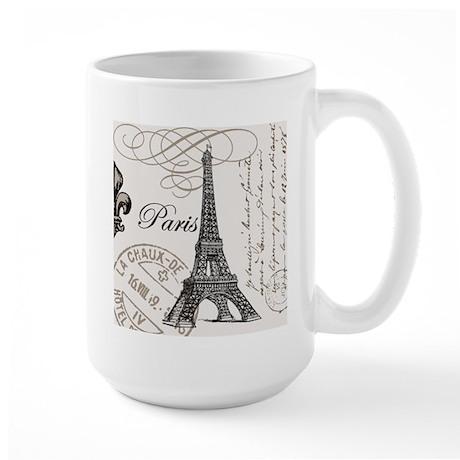 Vintage Paris Eiffel Tower Large Mug