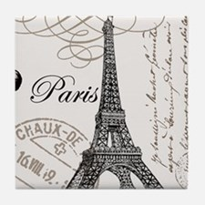 Vintage Paris Eiffel Tower Tile Coaster