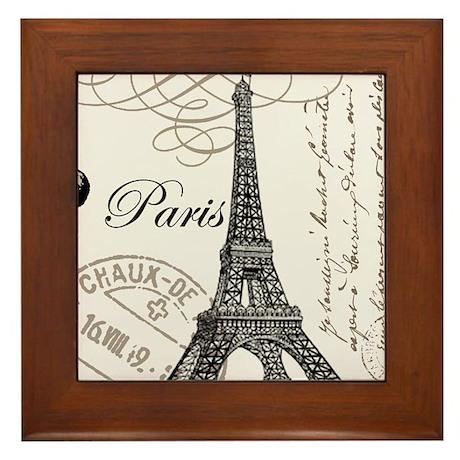 Vintage Paris Eiffel Tower Framed Tile
