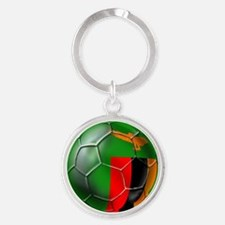 Zambia Football Round Keychain