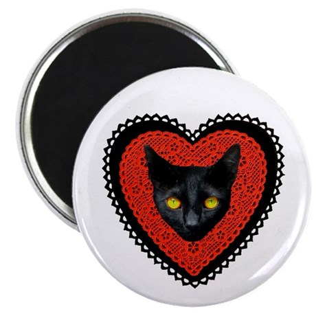 """Red Doily Cat 2.25"""" Magnet (10 pack)"""