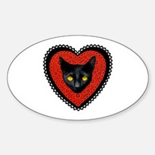 Red Doily Cat Decal