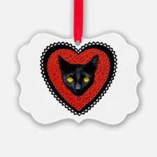 Red Doily Cat Ornament