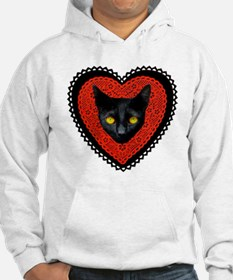 Red Doily Cat Hoodie