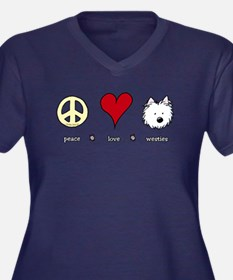 Peace Love Westies Women's Plus Size V-Neck Dark T