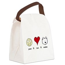 Peace Love Westies Canvas Lunch Bag