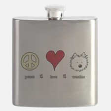 Peace Love Westies Flask