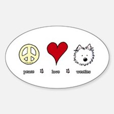 Peace Love Westies Sticker (Oval)