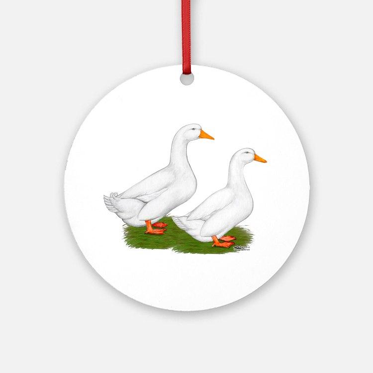 White Pekin Ducks 2 Ornament (Round)