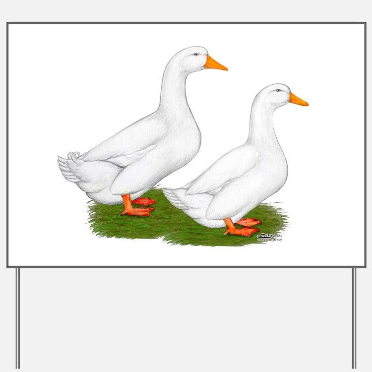 White Pekin Ducks 2 Yard Sign