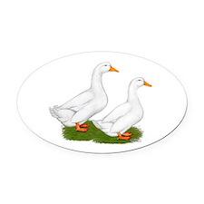 White Pekin Ducks 2 Oval Car Magnet
