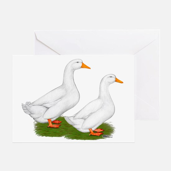 White Pekin Ducks 2 Greeting Card