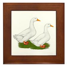 White Pekin Ducks 2 Framed Tile