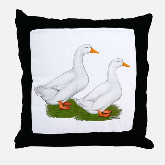 White Pekin Ducks 2 Throw Pillow