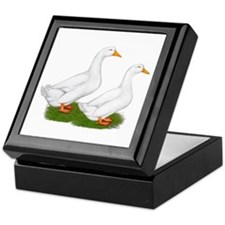 White Pekin Ducks 2 Keepsake Box