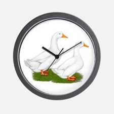 White Pekin Ducks 2 Wall Clock