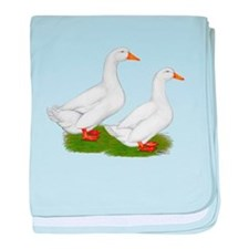 White Pekin Ducks 2 baby blanket