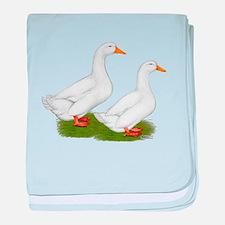 White Pekin Ducks 2 baby blanket