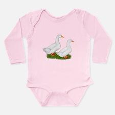 White Pekin Ducks 2 Long Sleeve Infant Bodysuit