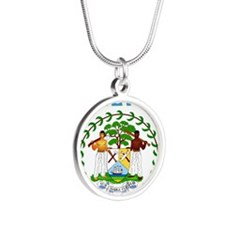 Belize Coat of arms Silver Round Necklace