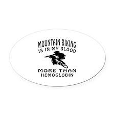 Mountain Biking Designs Oval Car Magnet