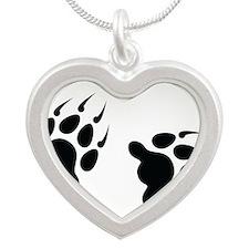 Bear Tracks Silver Heart Necklace