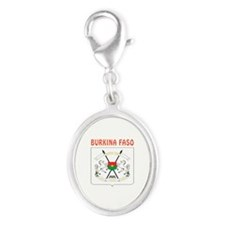 Burkina Faso Coat of arms Silver Oval Charm