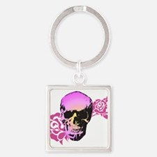 Skull and Roses Square Keychain