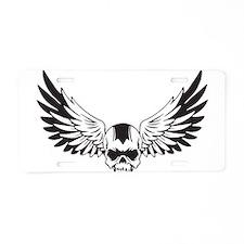 Skull + Wings Aluminum License Plate