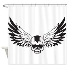 Skull + Wings Shower Curtain