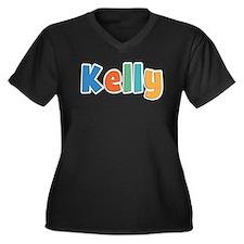 Kelly Spring11B Women's Plus Size V-Neck Dark T-Sh