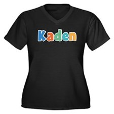 Kaden Spring11B Women's Plus Size V-Neck Dark T-Sh
