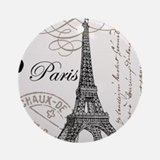 Vintage Eiffel Tower Ornament (Round)