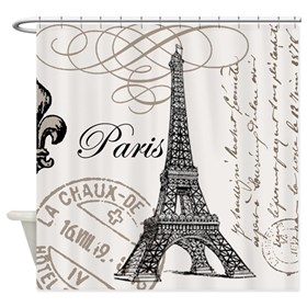 Vintage Eiffel Tower Shower Curtain