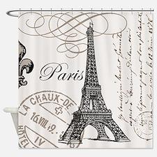 Vintage Eiffel Tower Shower Curtain